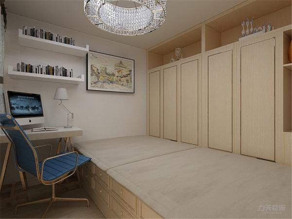 二楼位置,上楼的左边为休闲位置,对面是花架,开放式的卧室,床同样采用板式的材质,对面的衣柜增加储物功能,另外的一个卧室为榻榻米,这样的设计即能把户型的缺点遮住,又能增加储物,做到空间的合理使用。