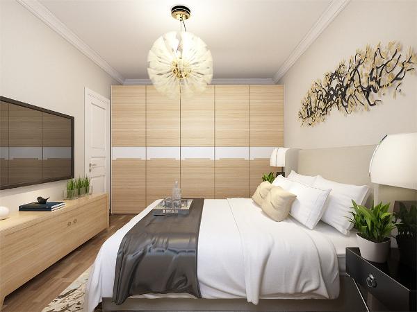 主卧是一间主人房,通过暖色调的咖色系营造一种浪漫和温情的氛围,但是运用的蓝色都是用在易更换的地方,可以更好的使一个空间多变化。