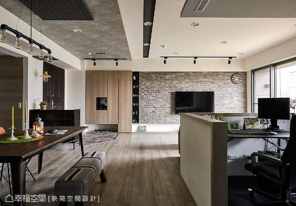 选用屋主喜爱的文化石材铺陈电视主墙,围塑朴质粗犷的工业风质感。