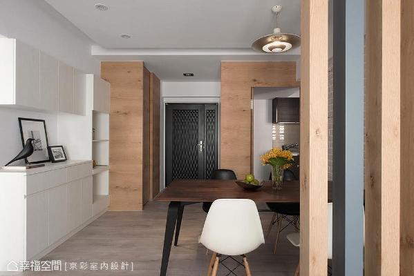 为提升储物机能,于玄关左右侧各设置了鞋柜及储藏室,善用空间创造最大效益。