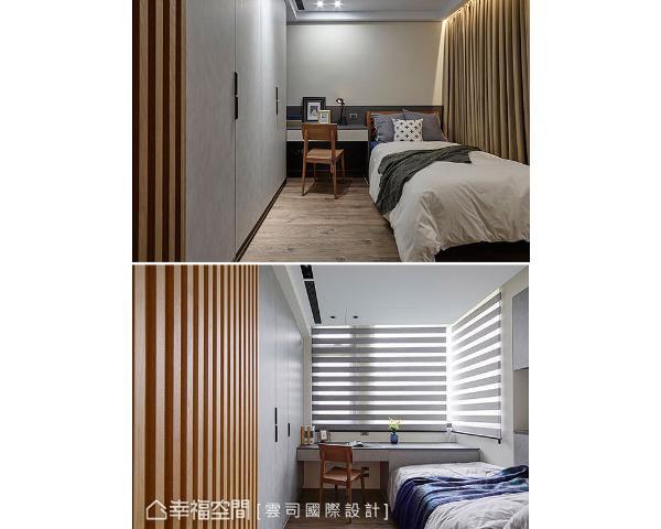 两个儿子房间皆配置大衣柜及书桌,机能完整充沛。紧邻而居的格局可保有个人隐私又能紧密互动,契合屋主期待。