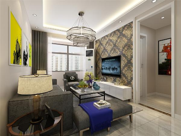 客厅沙发背景墙挂挂画做装饰,电视背景墙贴壁纸圈一圈角线,客厅墙面刷奶咖色乳胶漆,客厅顶面回字形吊顶,地面800*800地砖