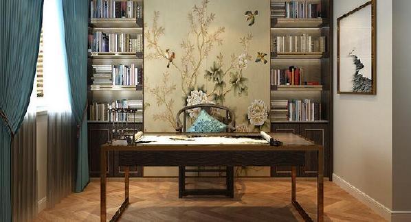 【名士华府-书房】中式书桌和圈椅充满了传统文化的底蕴,也在风景黄鹂图的柜门装饰下,武汉整装装修空间少了沉闷感。