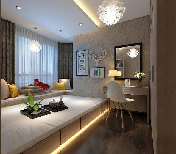 【金地天悦-卧室】武汉室内装修空间以原木材质为主要设计,曲线壁纸让空间更有线条感,视觉效果更佳。