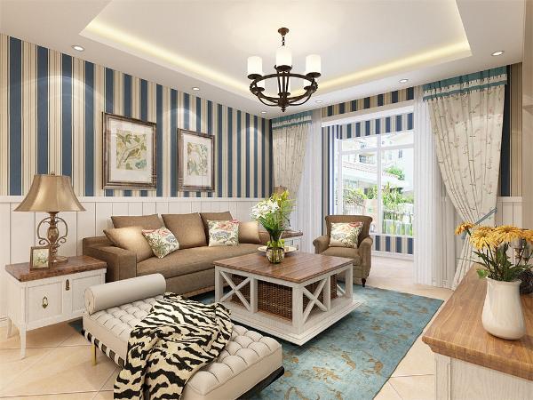 首先做了一个墙裙,增强视觉感受,也更有层次,地面采用了仿古砖,增加效果,家具的选择为朴素的,茶几的选择为特点更重的编织的,窗帘的选择为小碎花,使空间更有活力