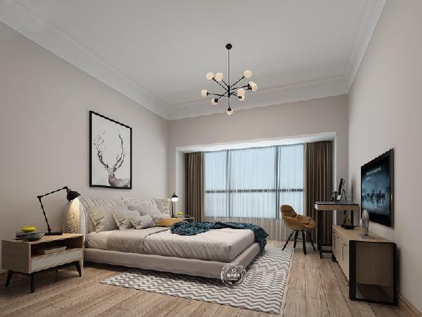 卧室采用简洁的板线做装饰,增加层高,极简的家私设计使整个空间干净利落。