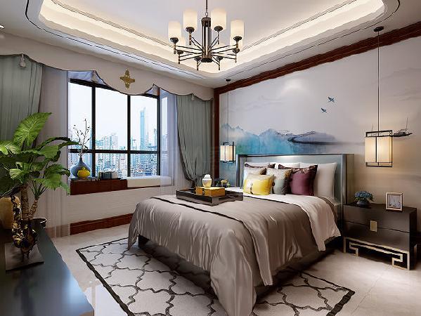柔软舒适的床品浑然一体的色调,经过业主的精心装修,搁置一套古色古香的茶具用品,颇具历史韵味。