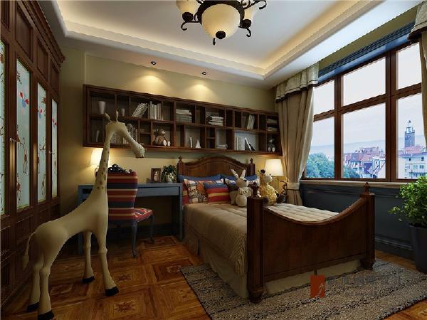 大大的窗户,让室内的采光极好,巧妙的设计,很好地将卧室和书桌结合在一起。