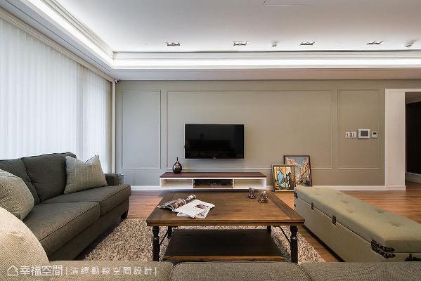 以大地色电视墙呈现跳色手法,与线板做搭配形成几何方框序列,柔和墙面表情,展现线条比例之美。
