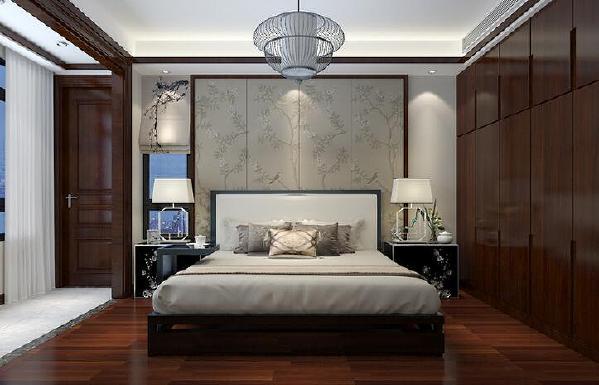 【海昌天澜-卧室】卧室大量采用木质材质,素雅的植物进行空间装饰,武汉全包装修卧室采用了对称设计的手法。