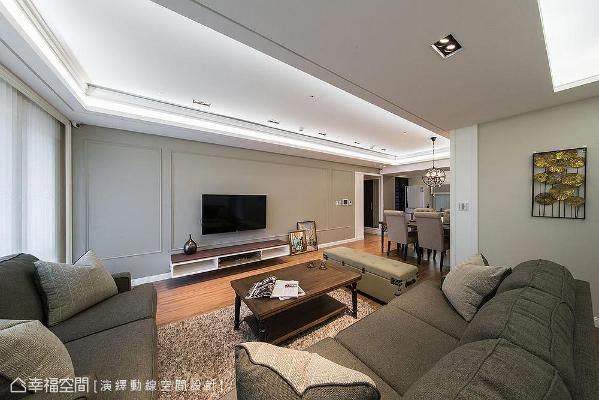 天花板设置间接灯光,创造向上延伸的视觉感,同时整合冷气出风口,让线条更简约利落。