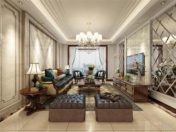 客厅电视背景墙大理石和车边境组成,沙发背景墙也石材造型。整体色调以暖色为主,深色点缀,电视柜深色实木家具,使得整个房间层次分明。