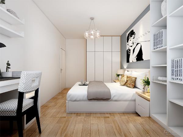 主卧室通铺实木复合地板,家具以白色烤漆为主,床头背景墙为蓝灰色