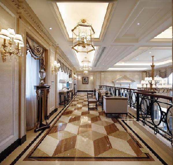 墙面用优质乳胶漆,以衬托豪华效果。地面材料以石材和地板为主