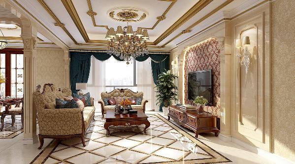天山熙湖200平—简欧风格—客厅装修效果图