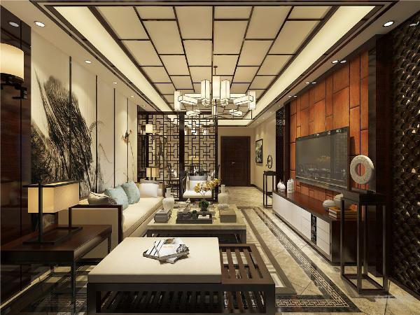 客餐厅相邻,整体吊顶采用的双层回字形吊顶,内框有装饰木线条,中心位置为深色木材装饰框,墙面为米黄色布纹壁布