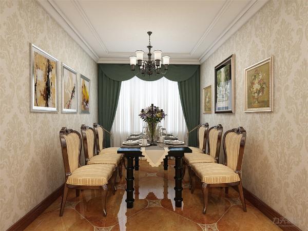 餐厅在墙上挂了几张画作为装饰。