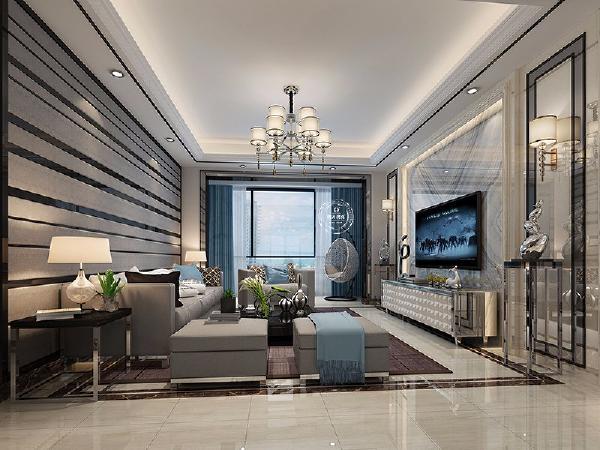 用黑色的不锈钢线条作为沙发背景的装饰,加上灰色的沙发浑然一体,外形简洁的边几,可用于收纳平时常看的书籍及摆设一些照片点缀装饰。 电视背景墙采用灰色纹理的大理石并且用黑色不锈钢做边饰,低调、沉稳又内敛。