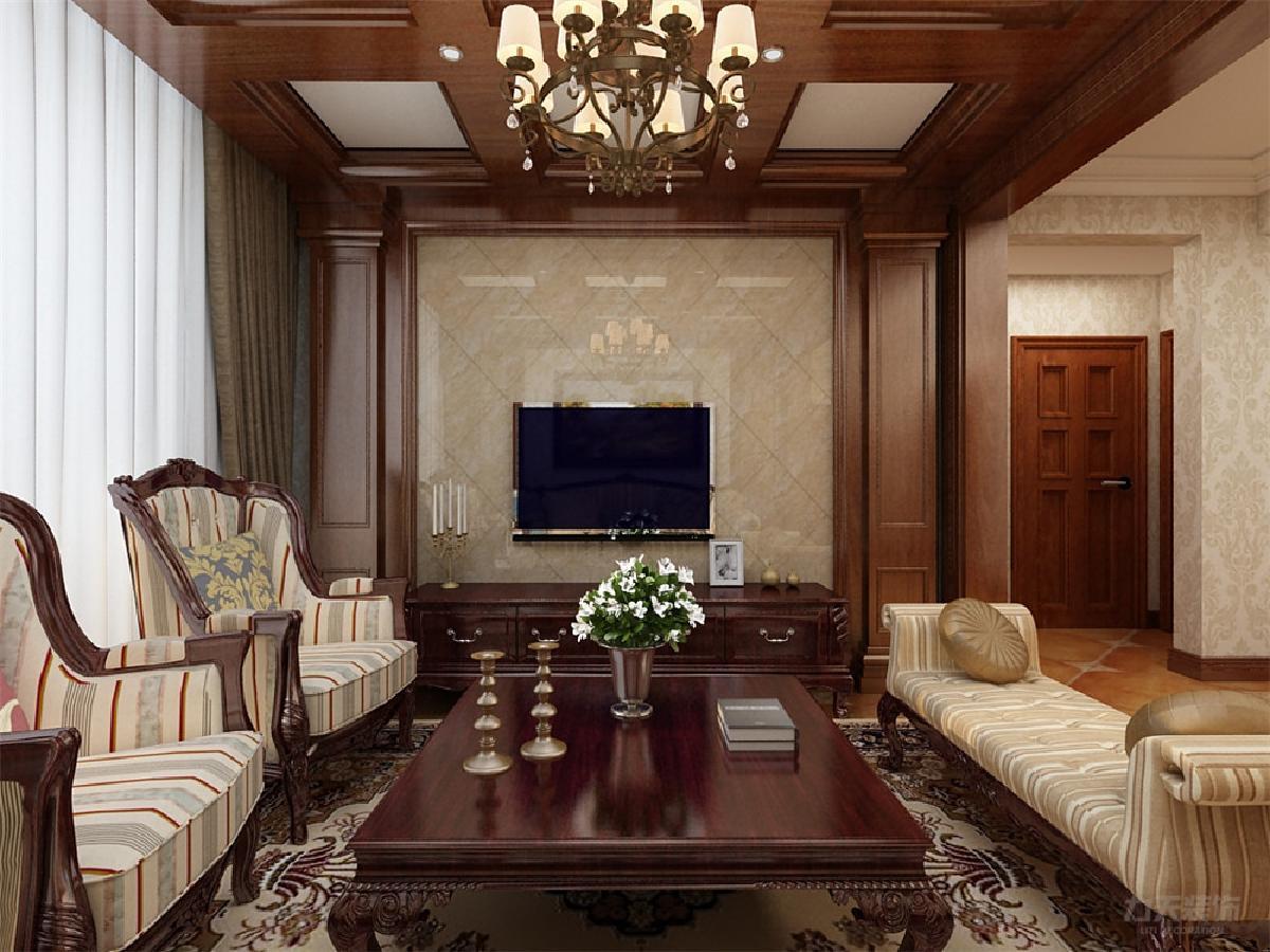 客餐厅墙上用了简单的壁纸装饰,客厅电视背景墙采用大理石周围用实木
