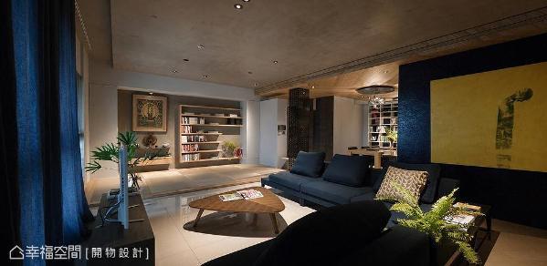 更换电视墙与沙发的座向,延伸公共场域范围,增加视觉宽阔感。