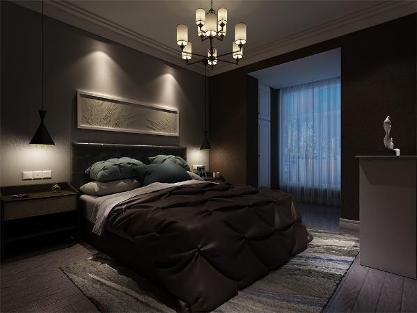 卧室同样用了简单的线条、较少的装饰物。在床的设计选择上,软装到位,简单的风格看起来更年轻,更有家的温馨。