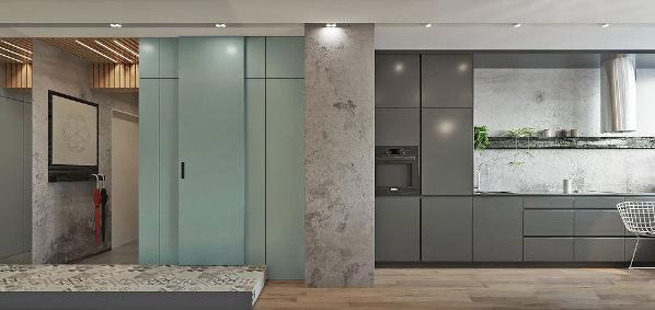 不管是涂上黑色、白色或是灰色,都能带给室内一种老旧却又摩登的视觉效果,十分适合工业风的粗犷氛围。