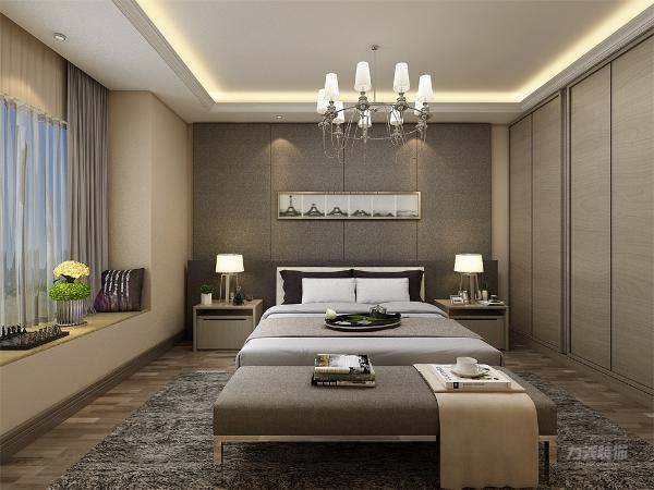 卧室不管是床头柜还是背景墙床上用品都以灰色与米色为主,更加体现家的温馨,简约而不简单,让业主感觉自己离大自然更进一步。让卧室有设计感。