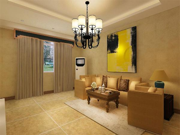 客厅中墙面与地用色较为简单。在全部的装饰物中都是用的极简的线条,看起来简洁、轻快。餐厅上方用了一个置物玻璃柜,加强功能性。整个客餐厅都是偏暖的色调,让人感到温馨舒适
