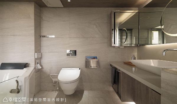 浴室使用矮墙作为扶手,并规划止滑地板、走入式浴缸,大大提升防滑安全系数。