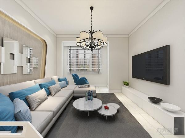 客厅电视背景墙采用电视镶嵌入电视墙设计,增加了空间对比性与光线感。其他墙面通刷卡其色色乳胶漆,使空间严肃整洁。沙发背景墙设计了白色乳胶漆墙面搭配里面卡其色内衬并配有大小装饰画,简单大方呈现对比。