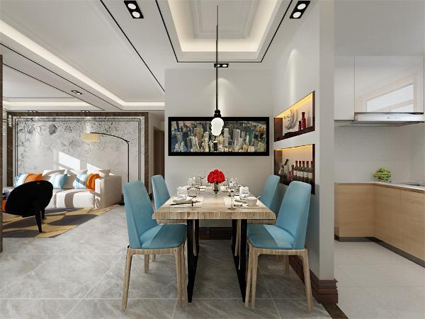 客餐厅隔着一条走廊,空间都比较适中,餐桌的靠墙面放了一个小型的餐具柜来增加功能性增强空间的容纳效果和氛围。