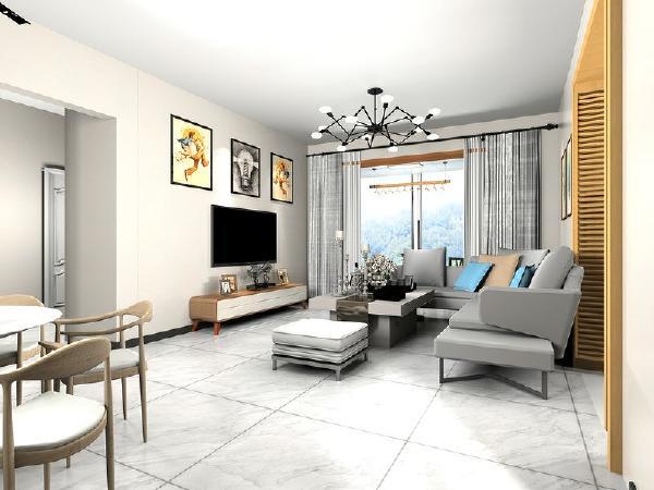 客厅简单大方,电视机背景墙上放几幅图片显得不那么单调。
