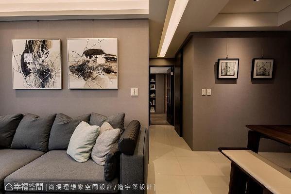 尚扬理想家空间设计为缓解廊道横梁压顶疑虑,以造型天花结合间照光源缓解压迫视感。