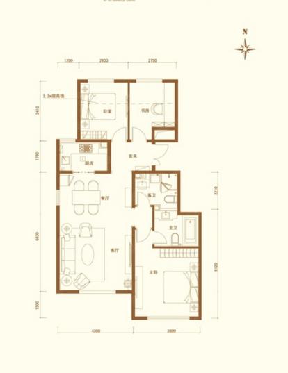 世华龙樾97平设计图-世华龙樾简欧效果图-户型图