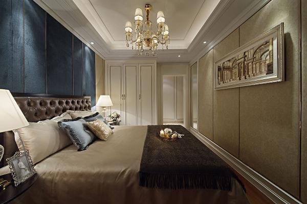 世华龙樾170平设计图-世华龙樾欧式效果图-次卧效果图 既保留了古典欧式的典雅与豪华,又更适应现代生活的悠闲与舒适。