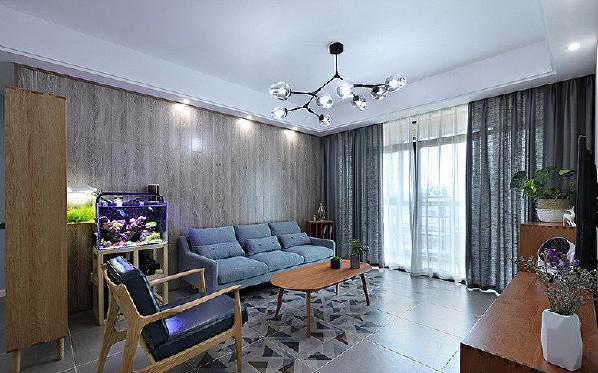 客厅图片来自家装大管家在107平原木北欧3居 回归简单原味的分享