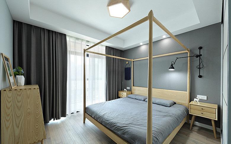 卧室图片来自家装大管家在107平原木北欧3居 回归简单原味的分享