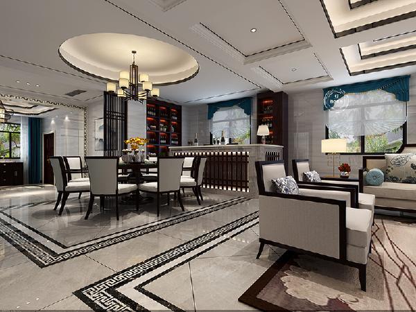 """餐厅采用圆形吊顶设计, """"圆""""是中国传统文化的一个重要精神原形, 在餐厅设计圆形的吊顶、餐桌, 寓团圆、和谐、圆满之意。"""