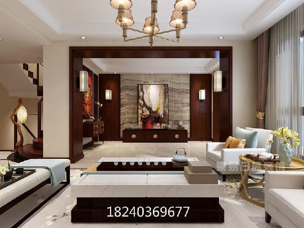 沉稳的红,素简的白,冷淡的黑,整体氛围沉稳、舒适。细节之处挂画、摆件组合成意境小景,赋予生活情趣。宏伟磅礴的风景背景墙,将静谧的客厅渲染出大气之姿。