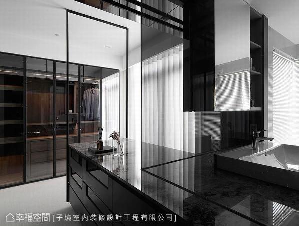中岛台面一路延伸至卫浴空间,以一物两用的概念完美串联场域。