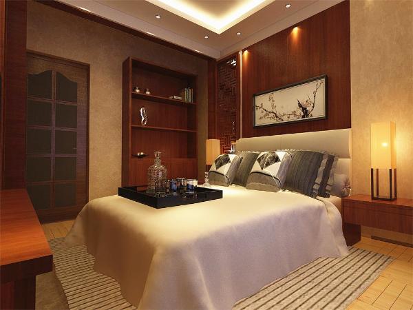 主卧位于房型的最靠里的地方正对客餐厅,具有良好的私密性,具有一个相对规则的窗户,所以采光通风方面也较为合理。
