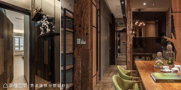 利用枕木和灰镜串连空间表情,呈现出冷暖对比的视觉飨宴;私领域门片以塑料地板拼贴出深浅不一的纹理,墙面藉由镜面反射特性增加轻盈感。