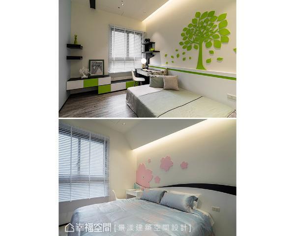 许沛浚设计师藉由绿和粉两色,营造出不同主题氛围;搭配自然的大树和花瓣图案,让床头墙成为视觉焦点。