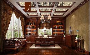 混搭 复古 别墅 书房图片来自高度国际设计严振宇在旭辉御府267平米中西混搭复式的分享