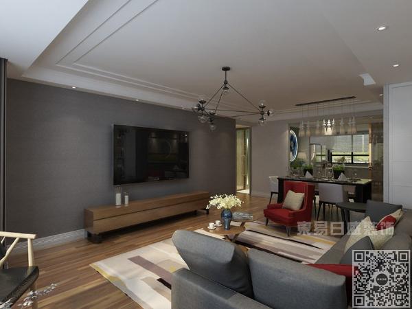 色彩上以白色为主色调,凸显现代风格的简约大气,以流行色陶俑红加以点缀,更加鲜艳,明了。深灰色的电视背景墙协调了整体空间色彩搭配。