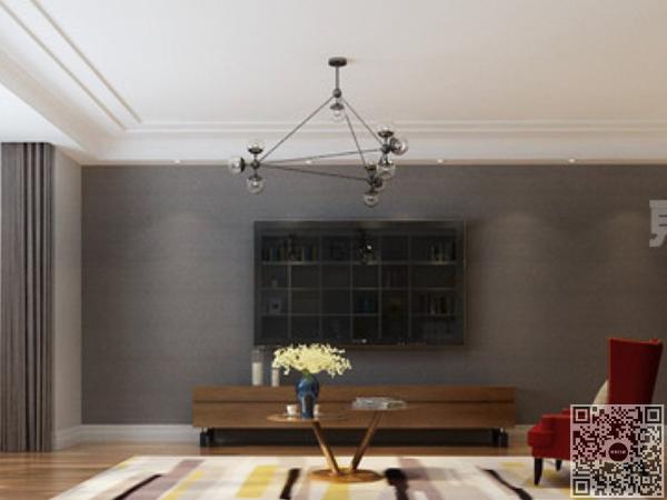 具有设计感的灯饰,原木质的电视柜以及一株绿植的装点,令空间更加清新自然