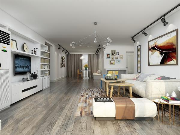 客厅采用白色石膏板平顶吊顶,客厅的沙发背景采用一整副色彩艳丽的挂画来装饰,搭配素色的沙发,以及线条流畅的吊灯,现代感十足。代替冰冷的地砖,本次设计采用的是实木地板,舒适温馨,给人一种家的感觉。