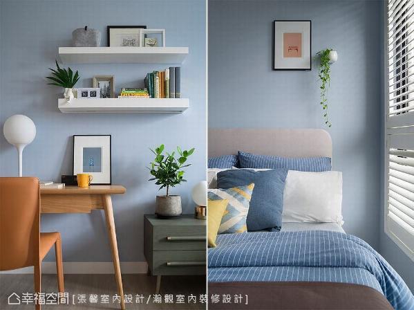 同样为了创造视觉丰富度,在床边摆放军绿色床边柜,以及选用皮革面座椅,让整体质感向上提升。