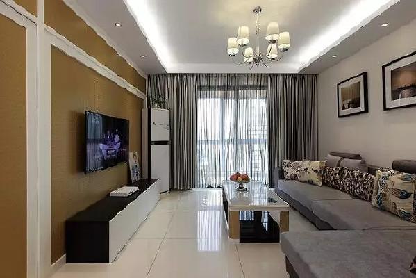 客厅全景整洁清晰,简单的做了下吊顶和灯带,效果蛮不错的。灰色窗帘搭配灰白色窗帘纱挺好看的。