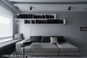 小户型 二居 现代 客厅图片来自幸福空间在黑白现代风 43平狭长宅放大术的分享